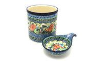 Ceramika Artystyczna Polish Pottery Utensil Holder Set - Unikat Signature - U4553 S00-U4553 (Ceramika Artystyczna)