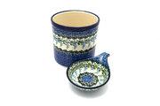Ceramika Artystyczna Polish Pottery Utensil Holder Set - Wisteria S00-1473a (Ceramika Artystyczna)