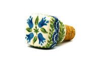 Ceramika Artystyczna Polish Pottery Wine Stopper - Blue Bells 832-1432a (Ceramika Artystyczna)