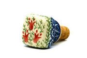 Ceramika Artystyczna Polish Pottery Wine Stopper - Crimson Bells 832-1437a (Ceramika Artystyczna)
