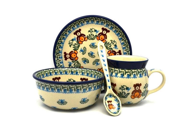 Ceramika Artystyczna Polish Pottery 4-pc. Baby Set - Teddy Bear Brown S27-1137a (Ceramika Artystyczna)