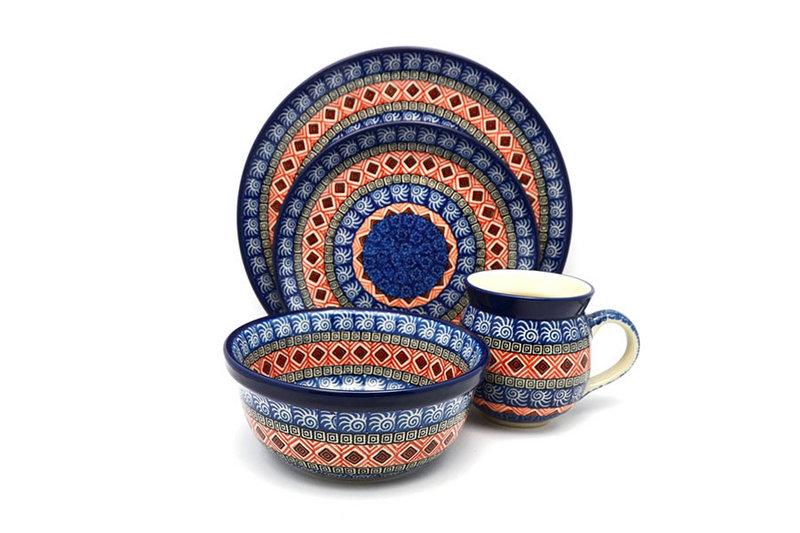 Ceramika Artystyczna Polish Pottery 4-pc. Place Setting with Standard Bowl - Aztec Sun S25-1350a (Ceramika Artystyczna)