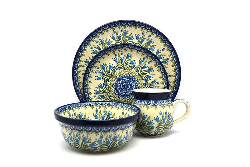 Ceramika Artystyczna Polish Pottery 4-pc. Place Setting with Standard Bowl - Blue Bells S25-1432a (Ceramika Artystyczna)