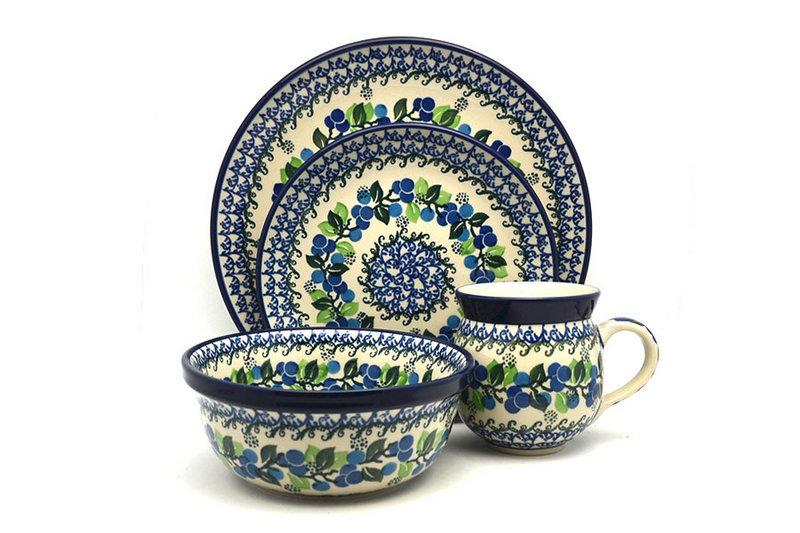 Ceramika Artystyczna Polish Pottery 4-pc. Place Setting with Standard Bowl - Blue Berries S25-1416a (Ceramika Artystyczna)