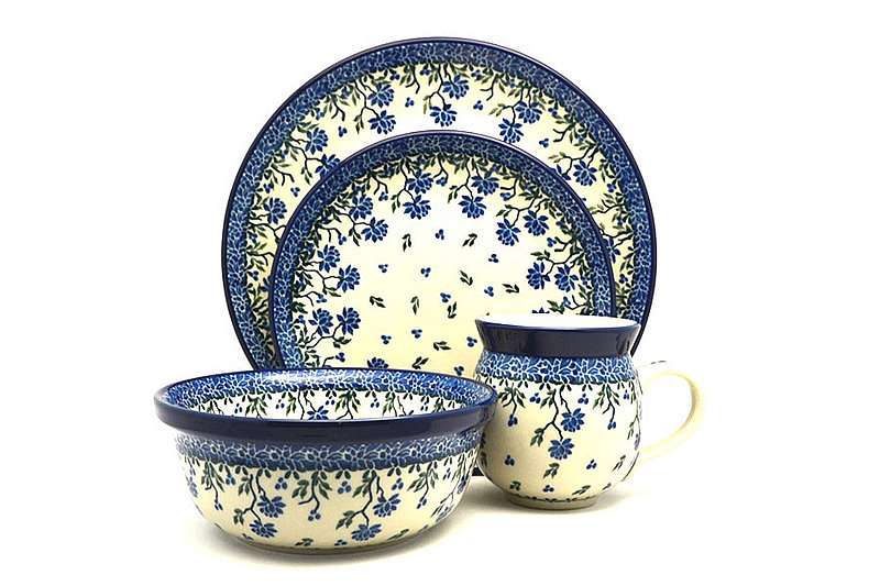 Ceramika Artystyczna Polish Pottery 4-pc. Place Setting with Standard Bowl - Blue Clover S25-1978a (Ceramika Artystyczna)