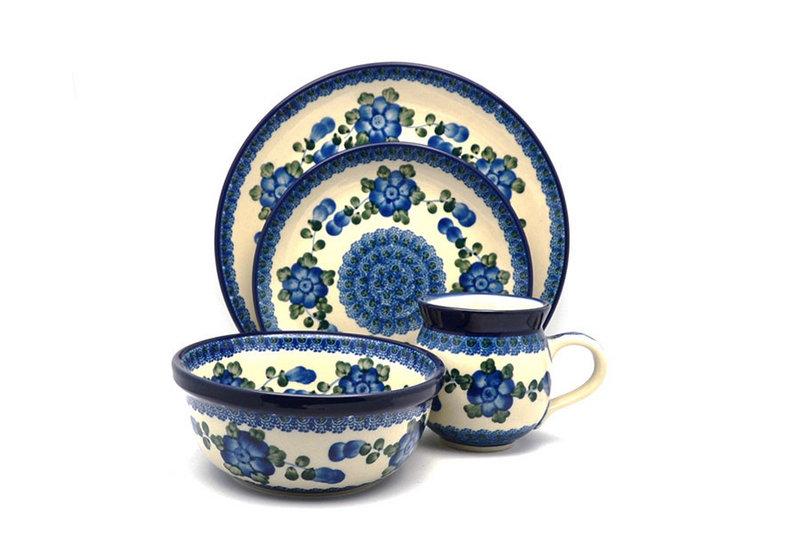 Ceramika Artystyczna Polish Pottery 4-pc. Place Setting with Standard Bowl - Blue Poppy S25-163a (Ceramika Artystyczna)