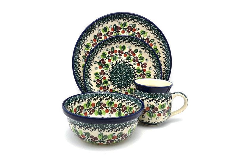 Ceramika Artystyczna Polish Pottery 4-pc. Place Setting with Standard Bowl - Burgundy Berry Green S25-1415a (Ceramika Artystyczna)