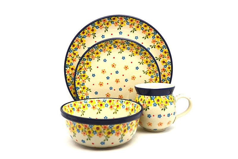 Ceramika Artystyczna Polish Pottery 4-pc. Place Setting with Standard Bowl - Buttercup S25-2225a (Ceramika Artystyczna)