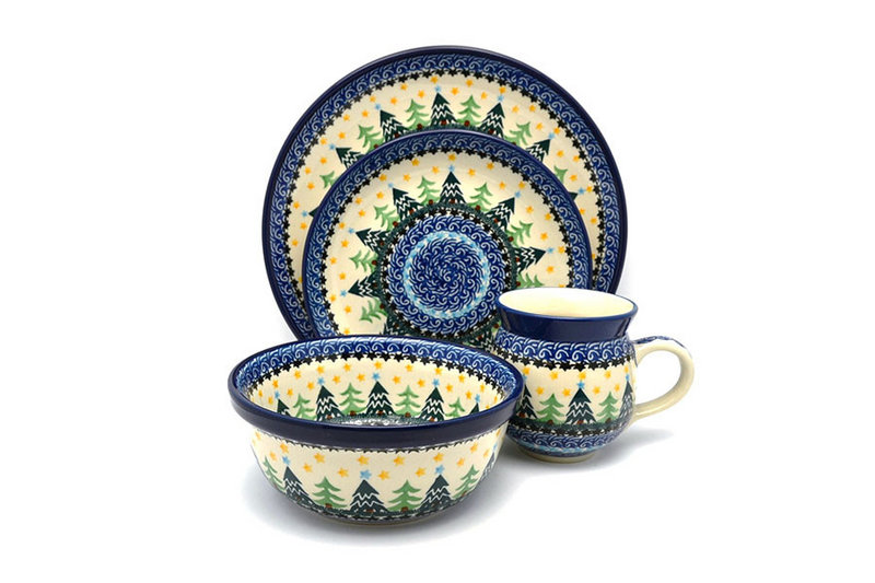 Polish Pottery 4-pc. Place Setting with Standard Bowl - Christmas Trees