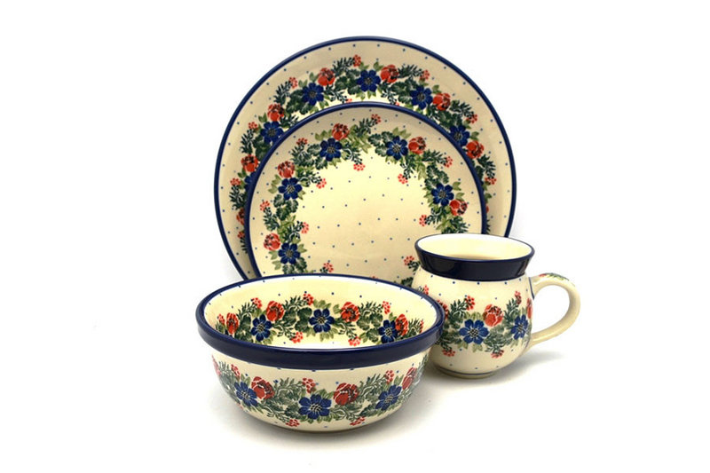 Polish Pottery 4-pc. Place Setting with Standard Bowl - Garden Party