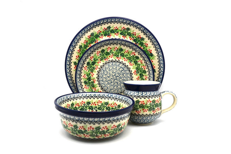 Ceramika Artystyczna Polish Pottery 4-pc. Place Setting with Standard Bowl - Holly Berry S25-1734a (Ceramika Artystyczna)