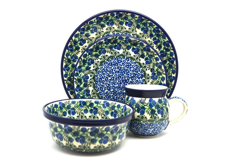 Ceramika Artystyczna Polish Pottery 4-pc. Place Setting with Standard Bowl - Huckleberry S25-1413a (Ceramika Artystyczna)
