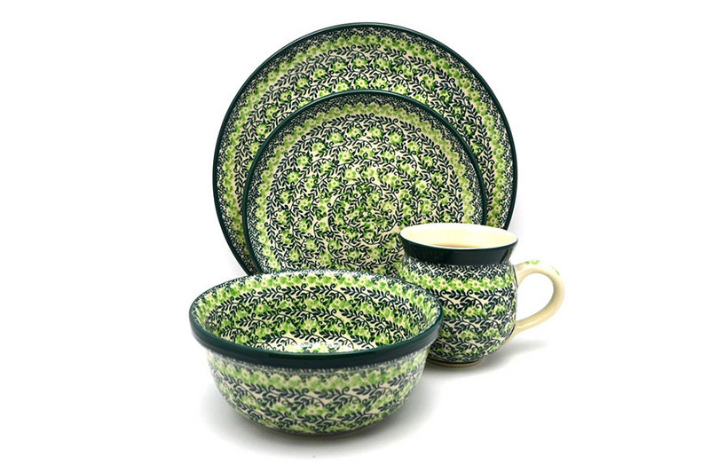 Polish Pottery 4-pc. Place Setting with Standard Bowl - Irish Meadow