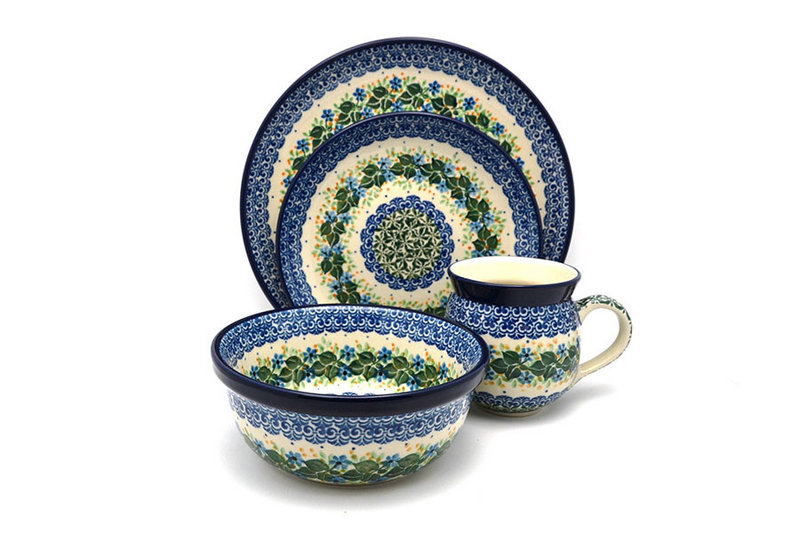 Polish Pottery 4-pc. Place Setting with Standard Bowl - Ivy Trail