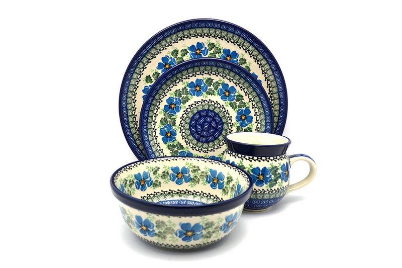 Ceramika Artystyczna Polish Pottery 4-pc. Place Setting with Standard Bowl - Morning Glory S25-1915a (Ceramika Artystyczna)
