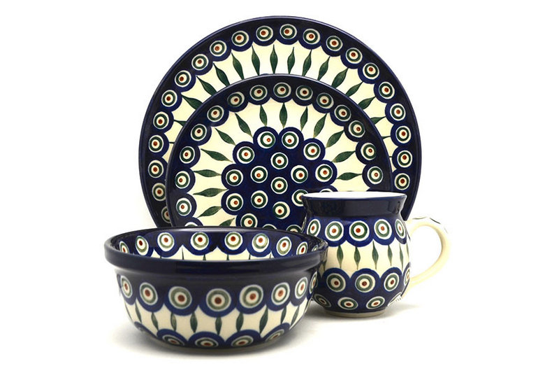 Polish Pottery 4-pc. Place Setting with Standard Bowl - Peacock