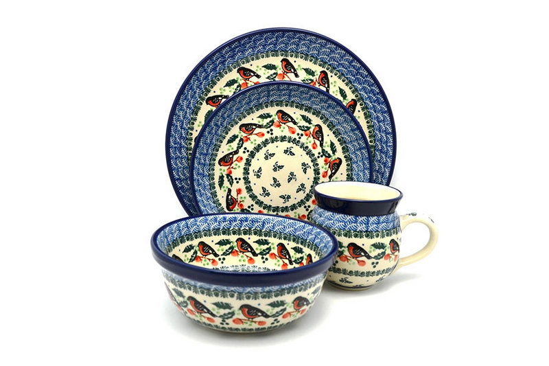 Polish Pottery 4-pc. Place Setting with Standard Bowl - Red Robin