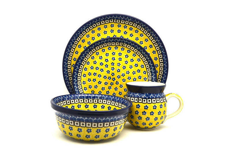 Ceramika Artystyczna Polish Pottery 4-pc. Place Setting with Standard Bowl - Sunburst S25-859a (Ceramika Artystyczna)