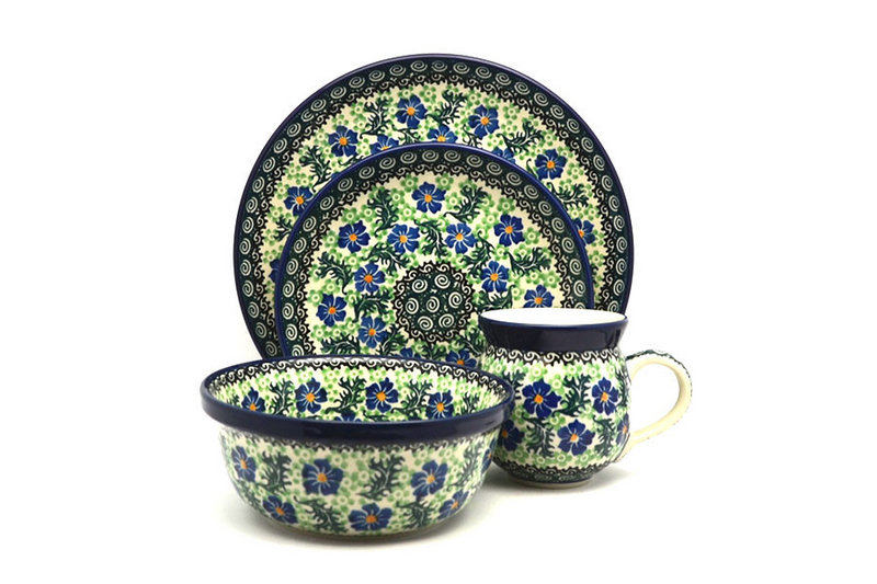 Ceramika Artystyczna Polish Pottery 4-pc. Place Setting with Standard Bowl - Sweet Violet S25-1538a (Ceramika Artystyczna)
