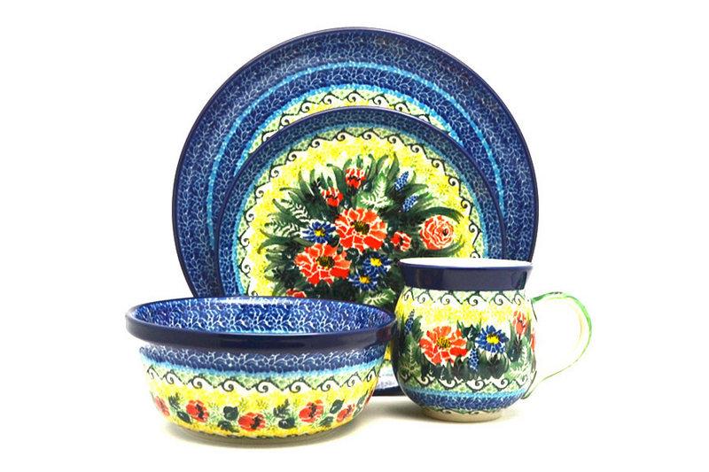 Ceramika Artystyczna Polish Pottery 4-pc. Place Setting with Standard Bowl - Unikat Signature - U4610 S25-U4610 (Ceramika Artystyczna)