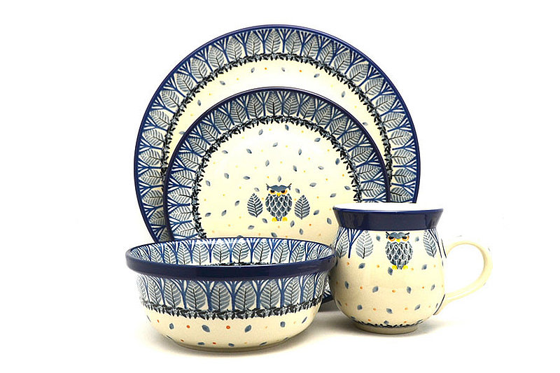 Ceramika Artystyczna Polish Pottery 4-pc. Place Setting with Standard Bowl - Unikat Signature - U4873 S25-U4873 (Ceramika Artystyczna)