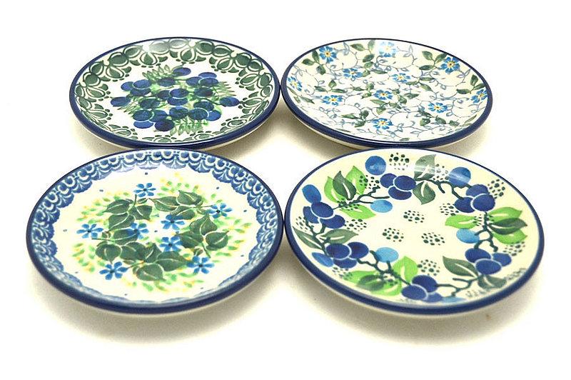 Ceramika Artystyczna Polish Pottery 4-Piece Coaster Set - Berry Blues S26-1413a (Ceramika Artystyczna)