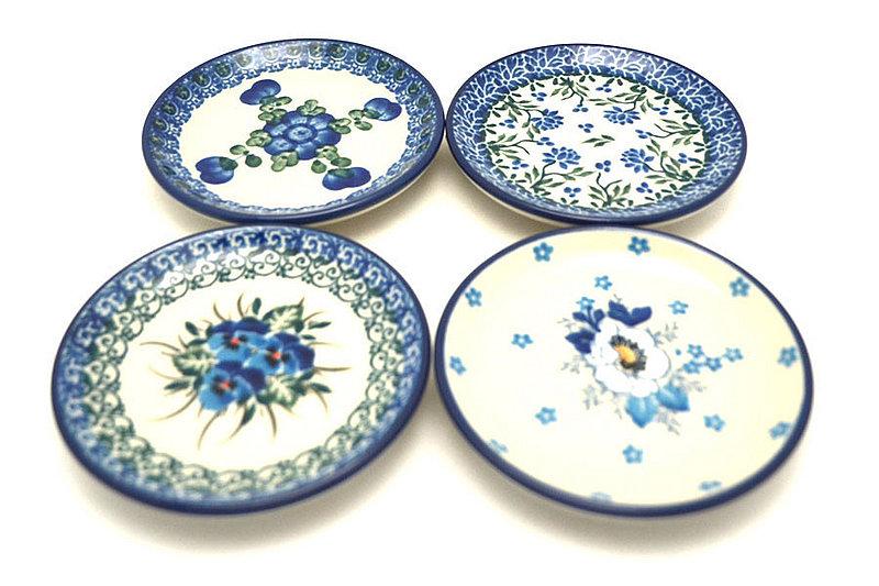 Ceramika Artystyczna Polish Pottery 4-Piece Coaster Set - Blue Flowers S26-163a (Ceramika Artystyczna)
