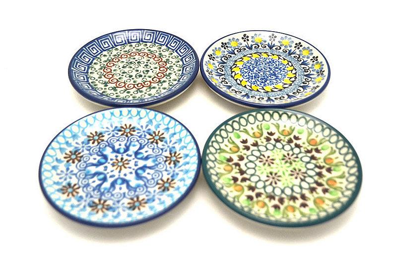 Polish Pottery 4-Piece Coaster Set - Geometrics