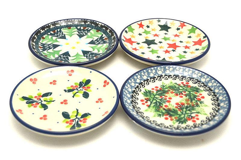 Ceramika Artystyczna Polish Pottery 4-Piece Coaster Set - Holidays S26-1284a (Ceramika Artystyczna)