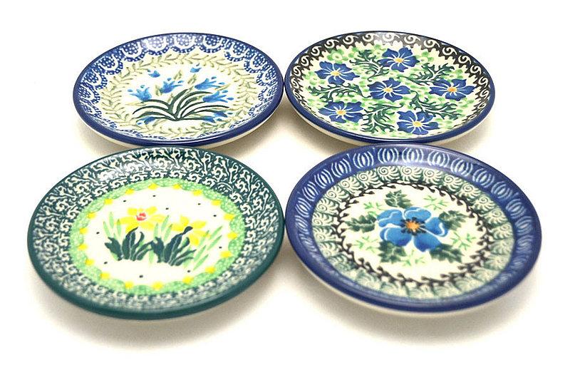 Ceramika Artystyczna Polish Pottery 4-Piece Coaster Set - Mixed Garden S26-1432a (Ceramika Artystyczna)