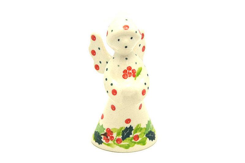 Ceramika Artystyczna Polish Pottery Angel Figurine - Small - Christmas Holly C66-2541a (Ceramika Artystyczna)