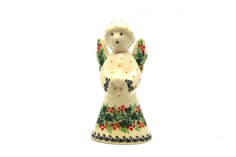 Ceramika Artystyczna Polish Pottery Angel Figurine - Small - Holly Berry C66-1734a (Ceramika Artystyczna)