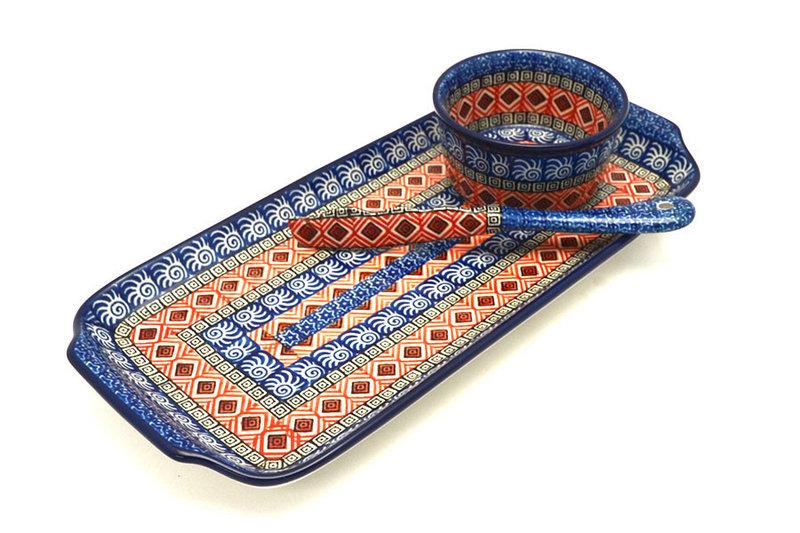 Ceramika Artystyczna Polish Pottery Appetizer Serving Set - Aztec Sun S41-1350a (Ceramika Artystyczna)