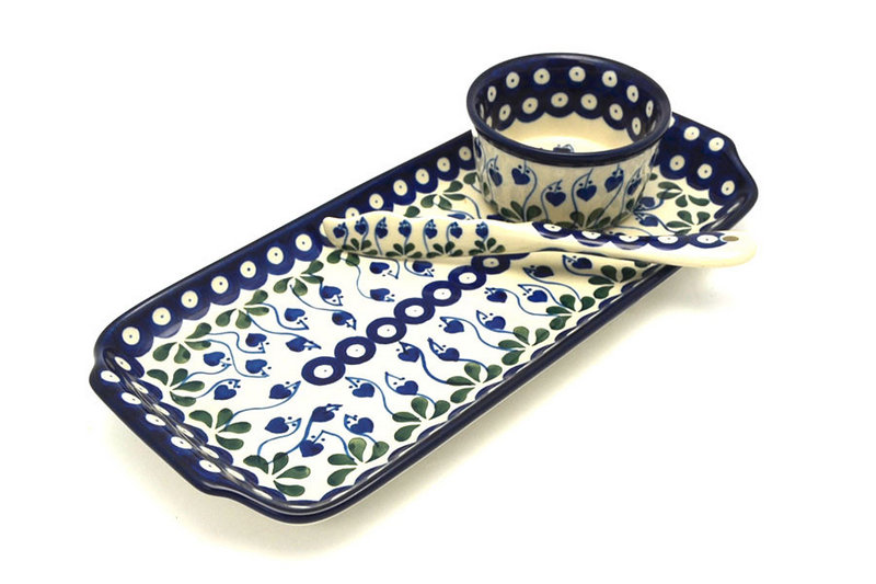Ceramika Artystyczna Polish Pottery Appetizer Serving Set - Bleeding Heart S41-377o (Ceramika Artystyczna)