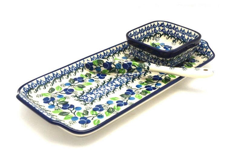 Ceramika Artystyczna Polish Pottery Appetizer Serving Set - Blue Berries S41-1416a (Ceramika Artystyczna)