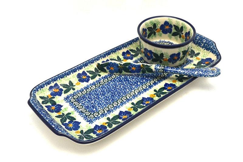 Ceramika Artystyczna Polish Pottery Appetizer Serving Set - Blue Pansy S41-1552a (Ceramika Artystyczna)