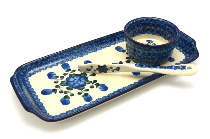 Ceramika Artystyczna Polish Pottery Appetizer Serving Set - Blue Poppy S41-163a (Ceramika Artystyczna)