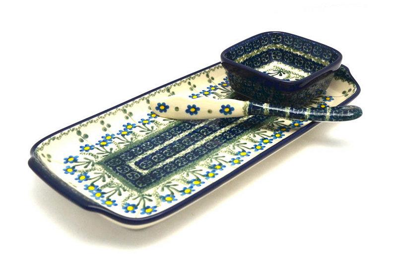 Ceramika Artystyczna Polish Pottery Appetizer Serving Set - Blue Spring Daisy S41-614a (Ceramika Artystyczna)