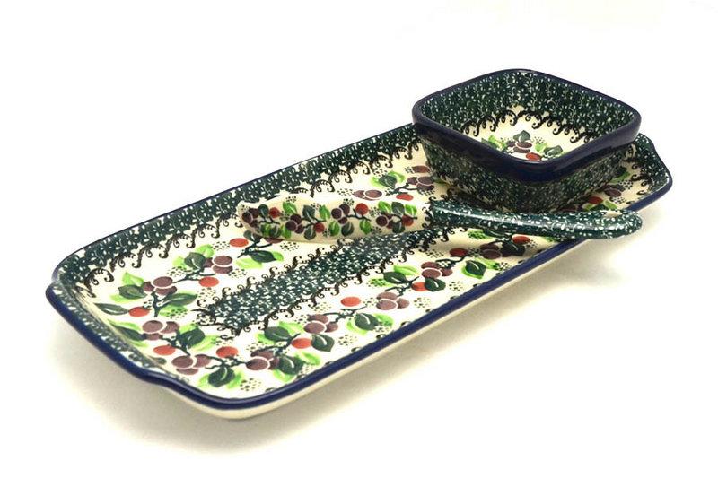 Ceramika Artystyczna Polish Pottery Appetizer Serving Set - Burgundy Berry Green S41-1415a (Ceramika Artystyczna)