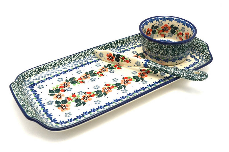 Ceramika Artystyczna Polish Pottery Appetizer Serving Set - Cherry Blossom S41-2103a (Ceramika Artystyczna)