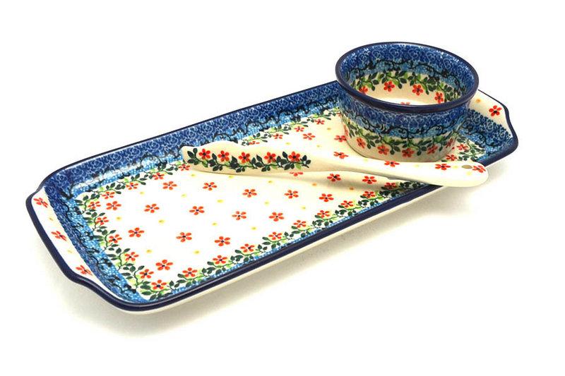 Ceramika Artystyczna Polish Pottery Appetizer Serving Set - Cherry Jubilee S41-2284a (Ceramika Artystyczna)