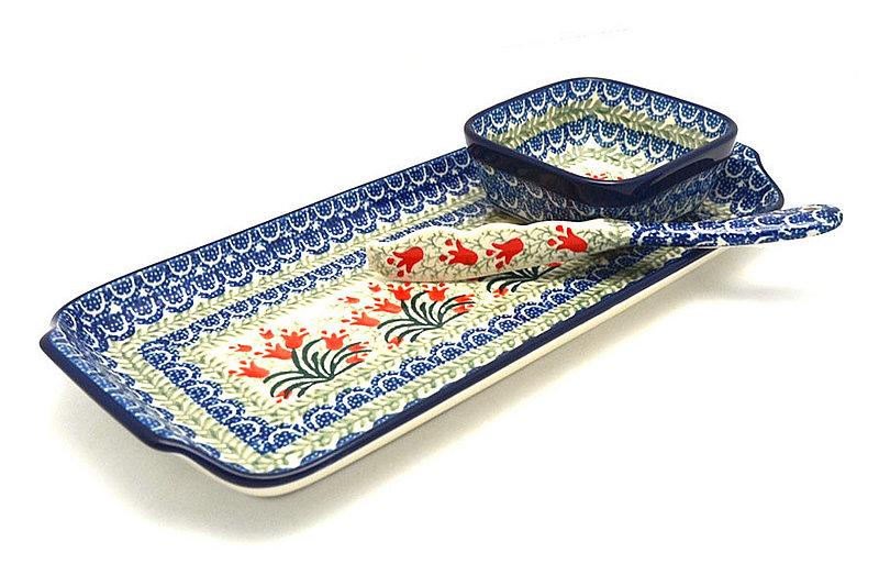 Ceramika Artystyczna Polish Pottery Appetizer Serving Set - Crimson Bells S41-1437a (Ceramika Artystyczna)