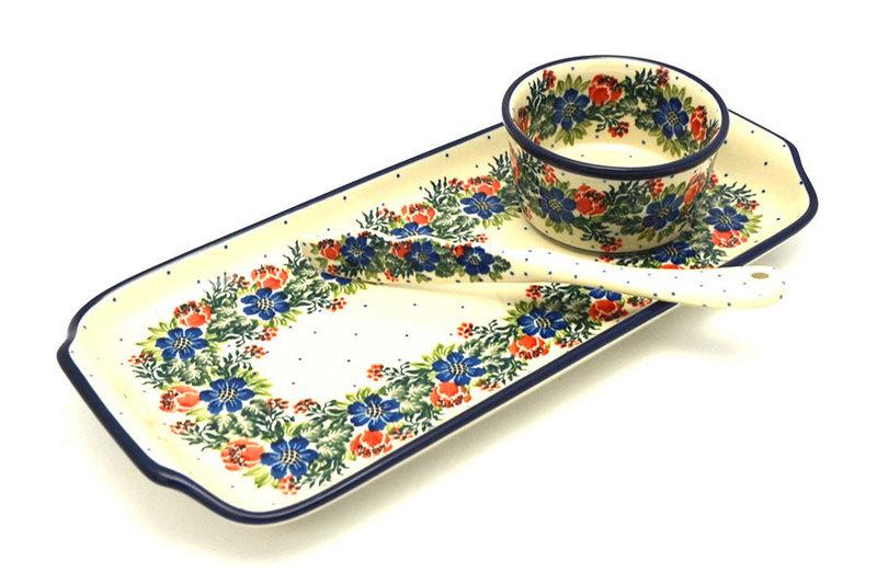 Ceramika Artystyczna Polish Pottery Appetizer Serving Set - Garden Party S41-1535a (Ceramika Artystyczna)