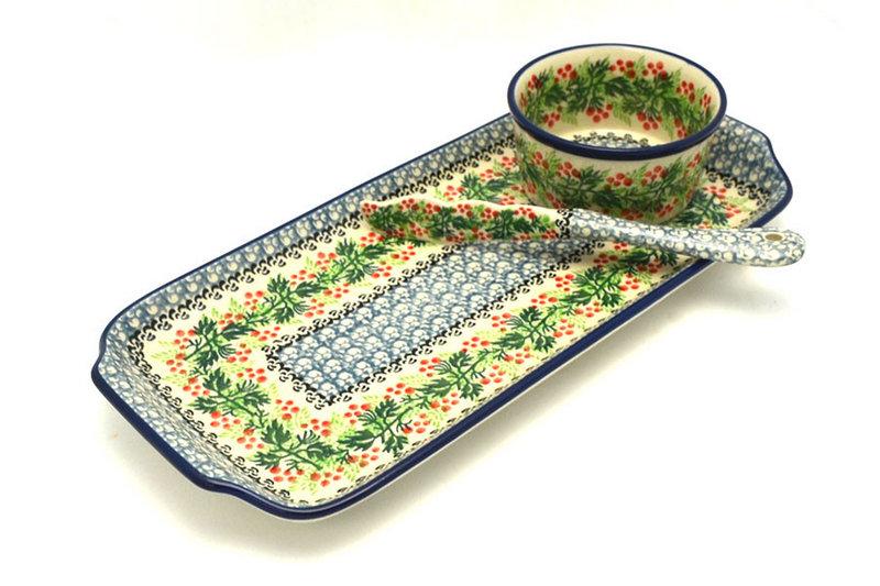 Ceramika Artystyczna Polish Pottery Appetizer Serving Set - Holly Berry S41-1734a (Ceramika Artystyczna)