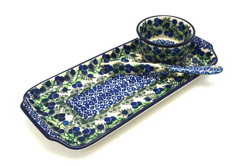 Ceramika Artystyczna Polish Pottery Appetizer Serving Set - Huckleberry S41-1413a (Ceramika Artystyczna)