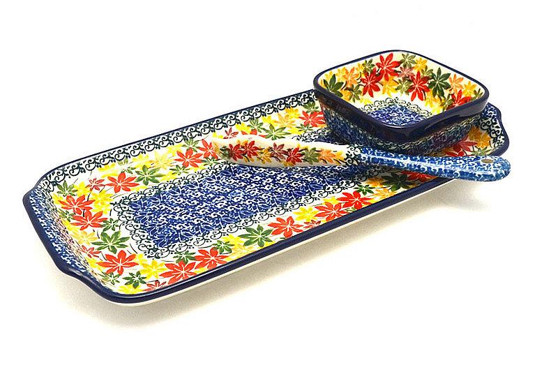 Ceramika Artystyczna Polish Pottery Appetizer Serving Set - Maple Harvest S41-2533a (Ceramika Artystyczna)