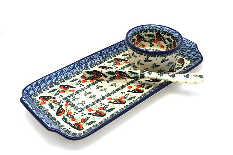 Ceramika Artystyczna Polish Pottery Appetizer Serving Set - Red Robin S41-1257a (Ceramika Artystyczna)
