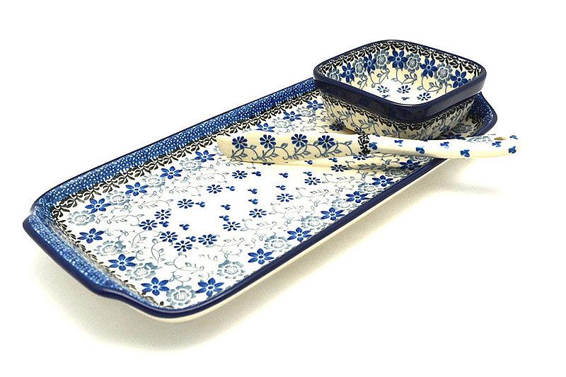 Ceramika Artystyczna Polish Pottery Appetizer Serving Set - Silver Lace S41-2158a (Ceramika Artystyczna)