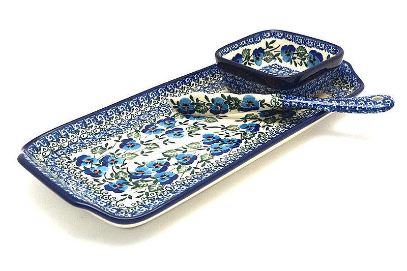 Ceramika Artystyczna Polish Pottery Appetizer Serving Set - Winter Viola S41-2273a (Ceramika Artystyczna)