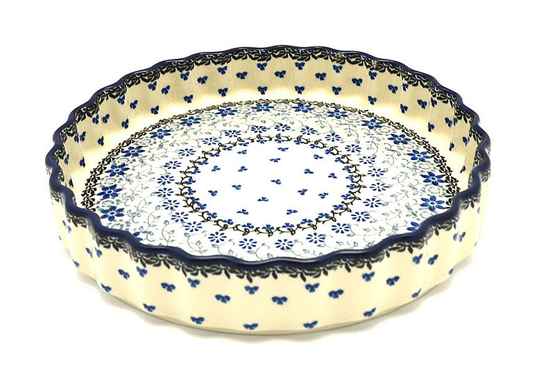 "Ceramika Artystyczna Polish Pottery Baker - Fluted Quiche - Large (9"") - Silver Lace 637-2158a (Ceramika Artystyczna)"